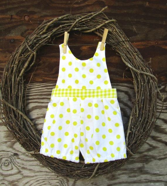 Baby girl romper, yellow romper, polka dot romper, kids yellow romper,  Photo prop