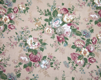 "3 1/2 Yards of Vintage 59"" Crushed Satin Floral Print Fabric. Gold with a Dull Sheen, Rose, White, Green, Blue, Burgundy. High Quality. 3967"