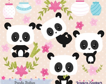 INSTANT DOWNLOAD, panda clipart and vectors for personal and commercial use