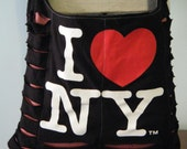 I Love New York Upcycled/Recycled Tshirt Cross Body Bag