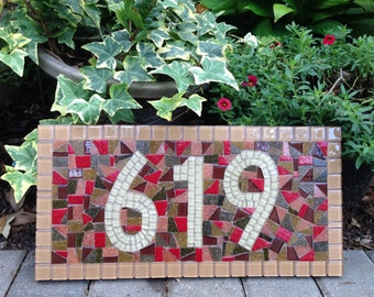 Mosaic House Number Plaque, Address Sign in Earth Tones