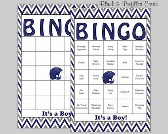60 Football Baby Shower Bingo Cards - 60 Prefilled Bingo Cards - Boy Football Baby Shower Game -Navy Gray Chevrons - B8001