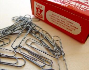 Box of 100 Metal Paper Clip Steel VINTAGE