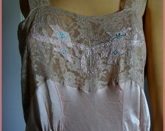 Vintage Satin And Lace Nightgown Pink With Tag Size 16