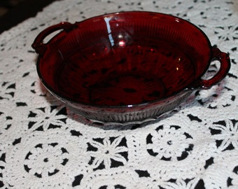 Red Glass Divided Dish