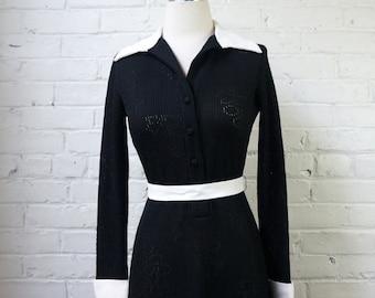 Black Maxi Dress Off White Collar & Cuffs Vintage 1970s Peakaboo Ribbed Knit Gown SMALL MEDIUM BodyCon Satin Trim Long Formal Shirt Dress
