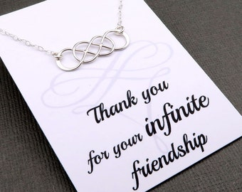 Silver Infinity Necklace - double infinity -  best friends necklace - sterling silver - infinity message card - gift for her