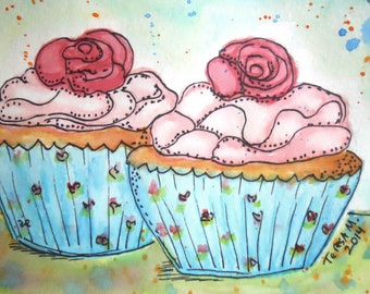 """FREE SHIPPING ORIGINAL watercolor and ink painting, not a print. """"Cupcakes"""""""
