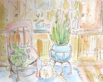 """ORIGINAL watercolor and ink painting, NOT a print, """"Sleepy Afternoon"""""""