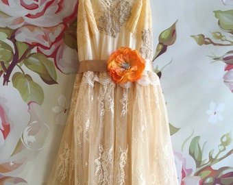 soft apricot taupe & cream chiffon and eyelash lace boho wedding dress by mermaid miss Kristin