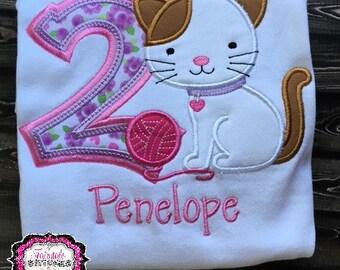 Kitten Shirt, Cat Shirt, Kitten Birthday, Cat Birthday, Girl Birthday, Birthday Shirt, Purple Birthday, Pink Birthday, Girl Birthday Shirt