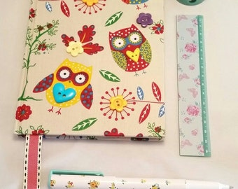 Notebook. Owl fabric covered notebook with flower button decoration and bookmark. Lined pages. Available in A5 size. UK shop.