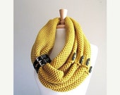SALE Infinity Knit Scarf with Black Buttons and Leather Cuff Neck Warmer Mustard Yellow Gold Scarves Women Girls Accessories