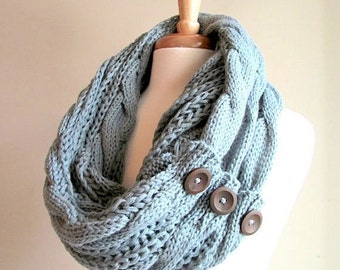 SALE Infinity Circle Loop Scarf with Buttons Braided Cable Lightweight Knit Neckwarmer Scarves Fall Winter Women Girls Accessories