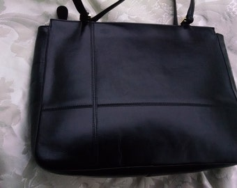 Etienne Aigner Black Leather Top-Handled Shoulder Bag