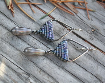 Woven Sterling Earrings, Seed Bead Earrings, Sterling Silver, Small Earrings, Lightweight Earrings, Grey Earrings, Oxidized Silver