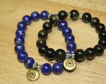 10mm Lapis Lazuli, Sheen Obsidian Lotus Stretch Bracelet