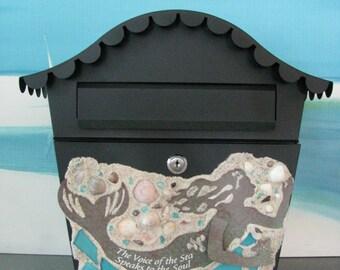 Mermaid Wall Mount Mailbox~Seashell Mailbox~Beach Mailbox~Coastal Decor