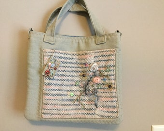 Hand made embellished tote bag.  Handwoven front pocket fabrics