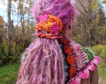 Orange headband Festival hair  Dreads accessories Bohemian hair Gypsy hair Patchwork headband Braid headband Hippie headband Boho hair