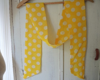 Vintage crepe scarf yellow with white polka dots   4.5 x 68 inches