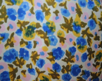 vintage 1960s acetate scarf blue and pink floral flowers 23 x 23 inches