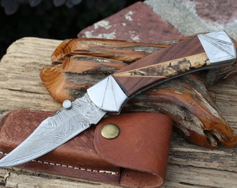 Handmade Damascus Hunting Knife with Inlaid Walnut, Cherry and Taramind Handle, Custom File Work, Leather Sheath, FREE Shipping