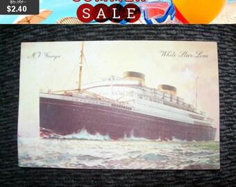 SALE 60% Off Vintage M V Georgic White Star Line  postcard,history, memorabilia, ship postcard, steamer