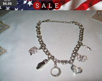 SALE 60% Off Rhinestone charm Necklace, statement necklace for repair repurpose