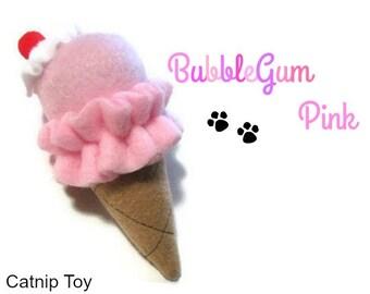 Cat Toy - Catnip Ice Cream Cone Cat Toy - BubbleGum Pink