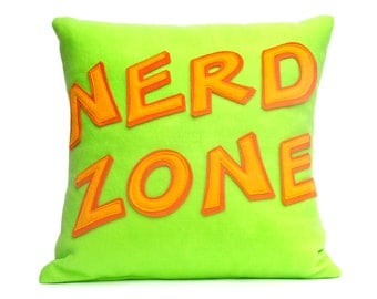 Nerd Zone- Appliqued Eco-Felt Pillow Cover in Neon Green, Orange, and Tangerine - 18 inches