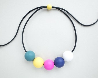 LIMA necklace - teal/yellow/pink/blue/white