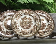 Set of 3 Royal Staffordshire Brown English Transferware Tonquin Plates Clarice Cliff 1940s