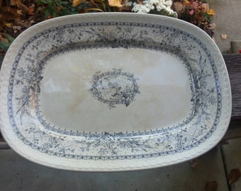 Johnson Bros Ironstone Platter Aesthetic Movement Lace Pattern Transferware Distressed Ironstone
