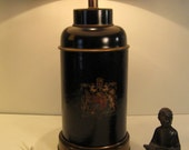Vintage Toleware Heraldric Horse and Lion Black Tea Canister Lamp