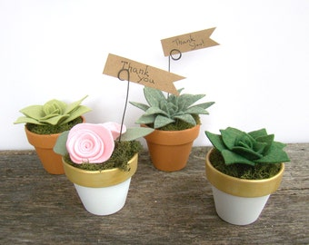 Rustic Succulent Wedding Favor, Wedding Shower Favor, Felt Succulent Favor, Place Card Holder, Table Number Holder, Terracotta White Gold