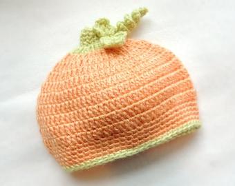 Pumpkin Hat, Halloween Hat, Baby Pumpkin Hat, Pumpkin Costume, Halloween Costume, Jack-O-Lantern Hat, Size 6 Months to 12 Months, Orange Hat
