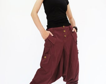 NO.95 Deep Red Cotton Jersey Casual Harem Pants, Unique Pockets Drop-Crotch Trousers, Unisex Pants