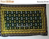 "SUMMER SALE Rare Vintage East African Kanga green yellow white  patterned design textile panel wall art beachwear  ""Mche Mungu Upate Rehema"