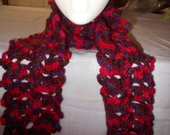 Red/Burgundy LONG LACY SCARF to fit under your coat.