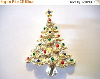 25% Off Storewide Sale Christmas Tree Pin or Brooch with Blue Gem Star On Top