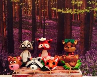 Polymer clay woodland animals, raccoon,bear,polymer clay fox,mushrooms,woodland bedroom,polymer clay animals