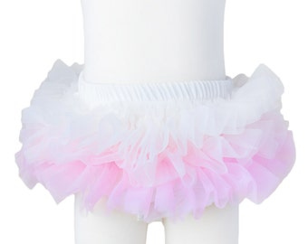 Tutu bloomers - Ombre Ivory - pale pink light pink ruffle diaper cover