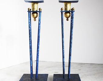 Post Modern Memphis Blue and Gold Candlesticks