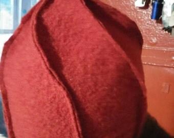 Burnt orange upcycled swirl wool hat