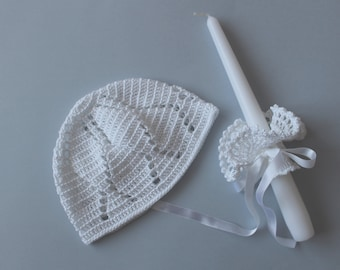 Free shipment, White crochet hat and candle decoration set, christening, baptism newborn, baby boy, baby girl, Ready to ship