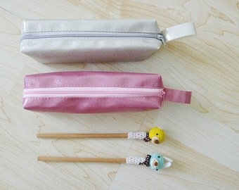 Pink or Silver METALLIC GLITTER  zipper pencil case, pearly pouch, pencil bag,rectangle shaped,waterproof,liquid look,pastel grunge,universe