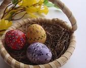 Set of 3 Quail Eggs Pysanky, Traditional Polish Eggs, Wax-Embossed Eggs