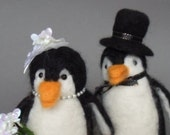 Penguin Wedding Cake Topper Needle Felt with Top Hat and Fascinator