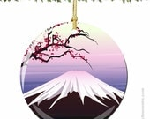 Mount Fuji Japan Christmas Ornament with Cherry Blossoms in Porcelain
